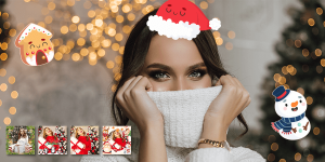 How To Add Stickers On Christmas Photo